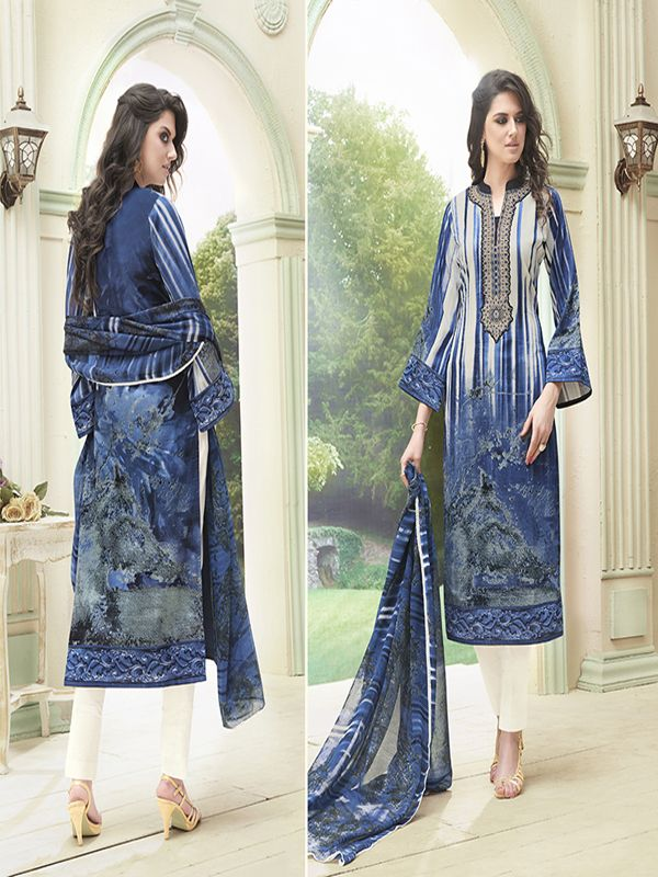 Kiyaza Designer Blue Cotton Salwar Suit