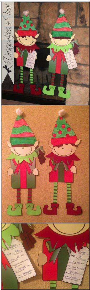 Elf on a Shelf activities: Hopping FREEBIE Elves. Great for Elf on a Shelf activities.