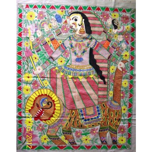 """Maa-Durga Madhubani painting- wall hanging . This exquisite item would surely catch everyones eye.The base of this painting is cream colored cotton fabric.  This wall hanging is a hand painted.Their is only one piece created in such pattern as such it is a unique product in itself.  Dimensions are 35"""" x 29"""".   Price: INR1500/-"""