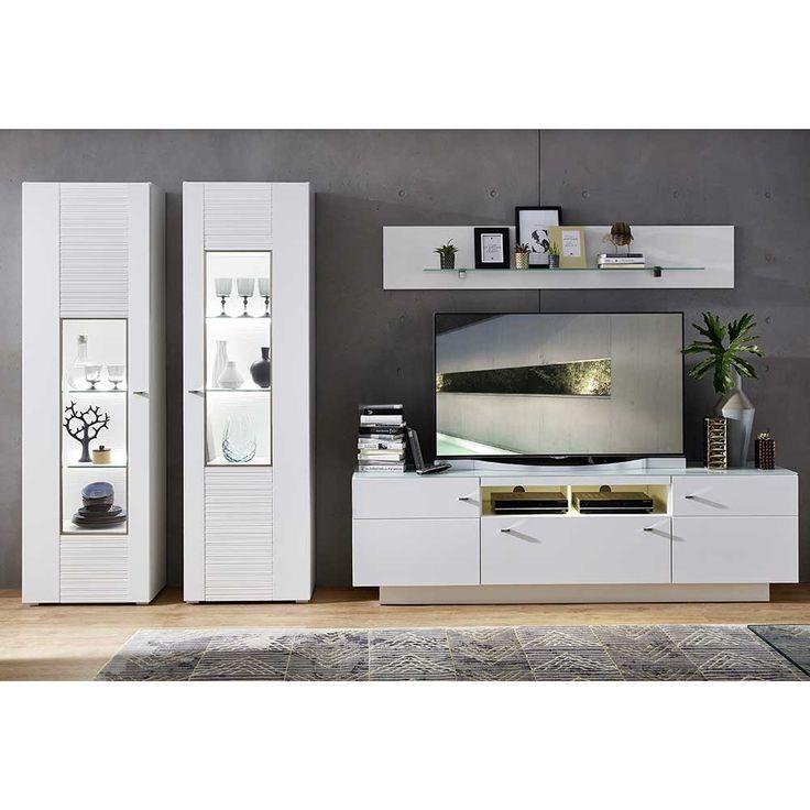 Schön Wohnzimmer Wohnwand In Weiß Geriffelt 360 Cm (4 Teilig) Jetzt Bestellen  Unter: