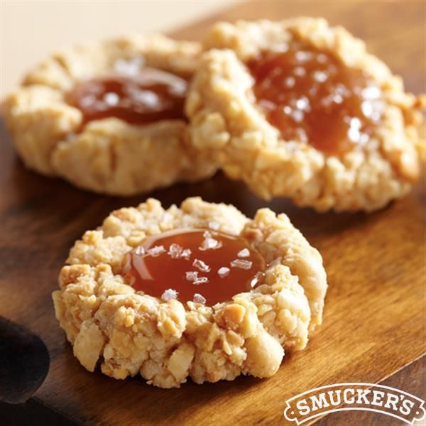Salted Caramel Peanut Butter Thumbprint Cookies from Smucker's® are a classic cookie recipe for your Christmas cookie exchange!