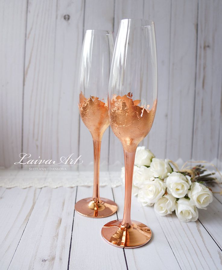 Wedding Champagne Flutes Champagne Glasses Rose Gold Wedding Toasting Flutes - pinned by pin4etsy.com