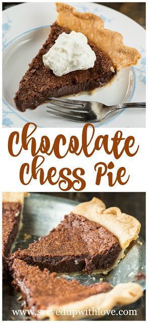 Chocolate Chess Pie recipe at Served Up With Love. The traditional chess pie becomes a chocoholics dream in this Chocolate Chess Pie. www.servedupwithlove.com