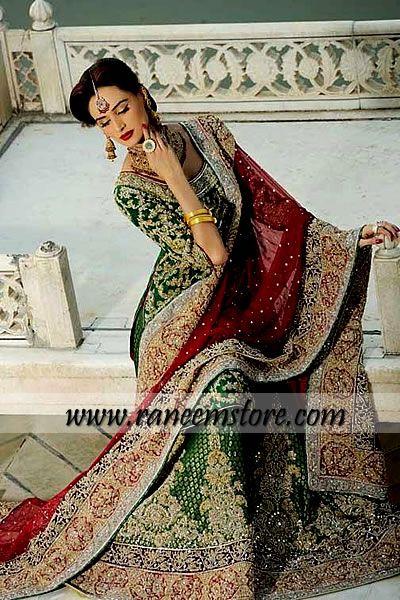 Design HER1237, Product code: HER1237, Green Asian Bridal Lehenga, Asian Bridal Green Bollywood Lengha, Pakistani Indian Lehenga