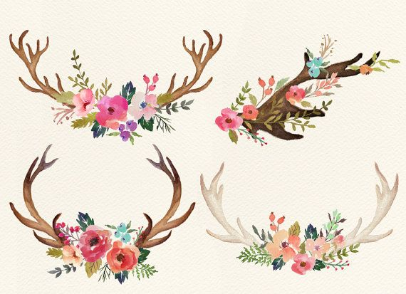 Watercolor flowers with deer horn by GraphicSafari on Etsy
