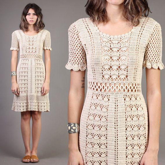 vintage CROCHET LACE wedding SCALLOPED sheer hippie festival boho knit dress 1970s 70s small S