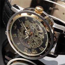 SEWOR Złoty Czarny Szkielet Dial Skórzany Pasek Montre Homme mężczyzna Przypadkowych Horloges Mechaniczne Zegarka Mężczyzna Zegarek(China (Mainland))