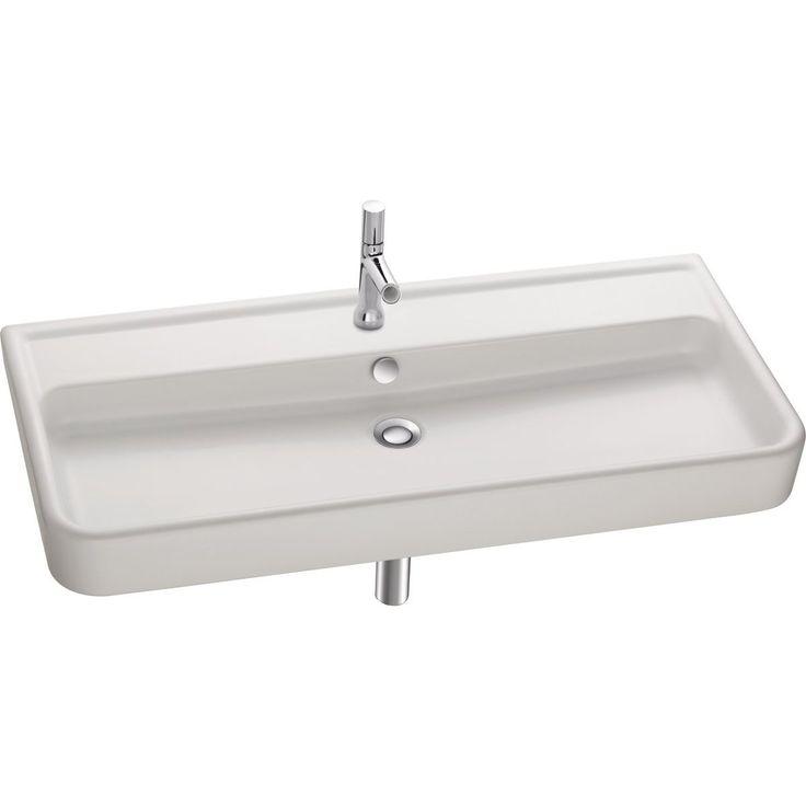 plan vasque replay 1 l1000xp460mm autoportant blanc perc 1 trou de 35mm par vasque avec cache. Black Bedroom Furniture Sets. Home Design Ideas