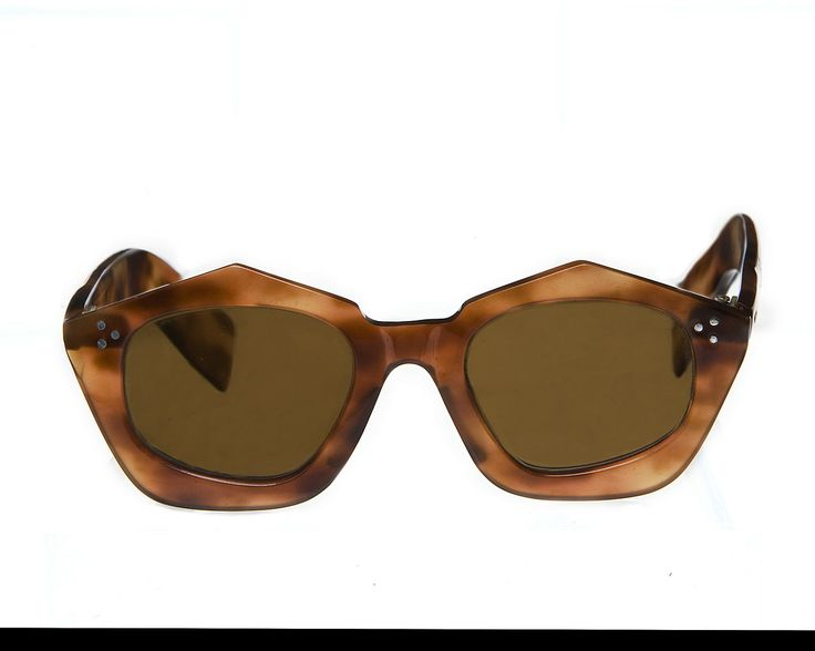 late 1940s faux tortoiseshell faceted sunglasses, made in France,  from the historical collection of General Eyewear.