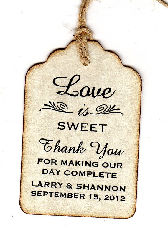 50 Wedding Favor Gift Tags / Place Cards / Escort Tags / Thank You Tags / Shower Tags / Love Is Sweet / Honey Jar Labels - Vintage Style via Etsy