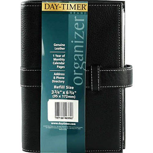 Day-Timer Black Pebble Grain Leather Planner Starter Set, Slip Tab Closure, 5.5 x 7.7 Inches, Black (D49369) Rich black pebble grain leather with cream contrast stitching and slip tab closure. Starter set Includes a full year of monthly tabs, samples of 3 popular refill formats, information pages, a business card  holder, zip pouch, and note pad. Binder has a 1 Inch 6 ring element. Portable size h... #Day-Timer #OfficeProduct