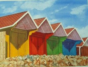 """Beach Huts at Scarborough"" by Graham Ibson"