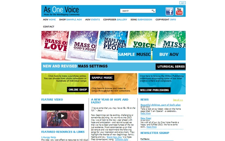 http://www.asonevoice.com.au/ As One Voice is an online music distributor for religious hymnes and music. This website provides the unique ability for visitors to sample 30 second 'sound bites' of songs or purchase thousands of titles through the online shop.