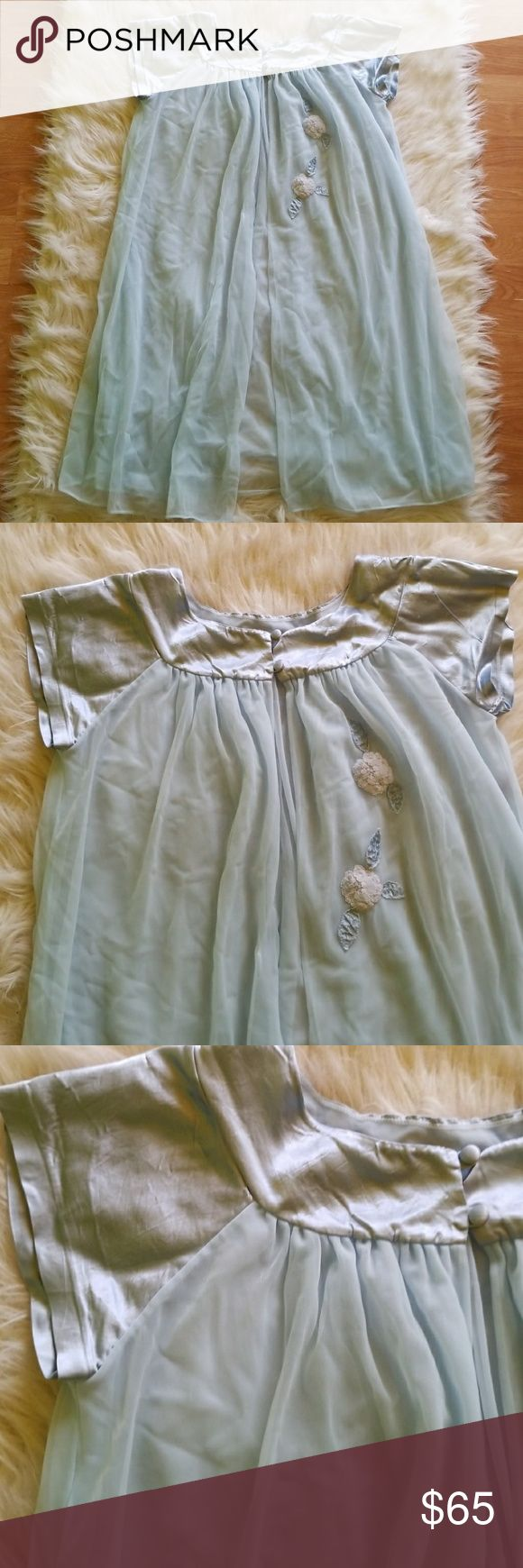 💙50's True Vintage Sears Baby Blue Sheer Babydoll Vintage Baby Blue Sheer Babydoll nightgown in Mint condition! This piece is absolutely devine!  Features silky satin sleeves and neckline & beautiful rose embellishments.  100% Nylon  Have questions? Just ask away!  Thanks for looking! 💋 Sears Intimates & Sleepwear