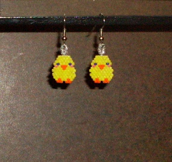 Little Yellow Chicks Beaded Earrings by TheCraftyCuban on Etsy, $10.00