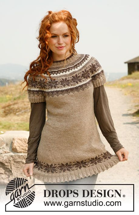 """Knitted DROPS tunic with short sleeves, round yoke and Norwegian pattern in """"Karisma"""". Size: S to XXXL. ~ DROPS Design"""