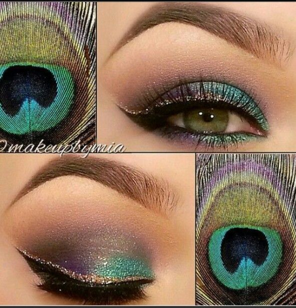 Peacock inspired eye makeup - quite different version what I have seen before but I like this because you really can use this color scheme for daily makeup!