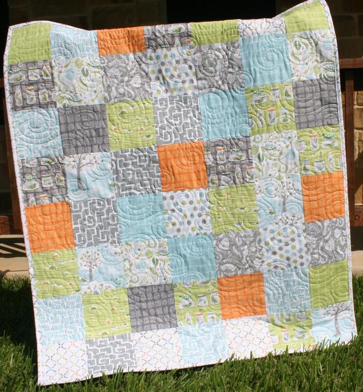 Home. Boy room. Aqua. Gray. Green. Orange. Backyard Baby Boy Quilt Patchwork. $138.00, via Etsy.