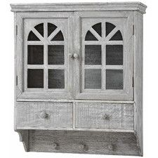 Wash Wooden Wall Mounted Cabinet with Hooks and Drawer