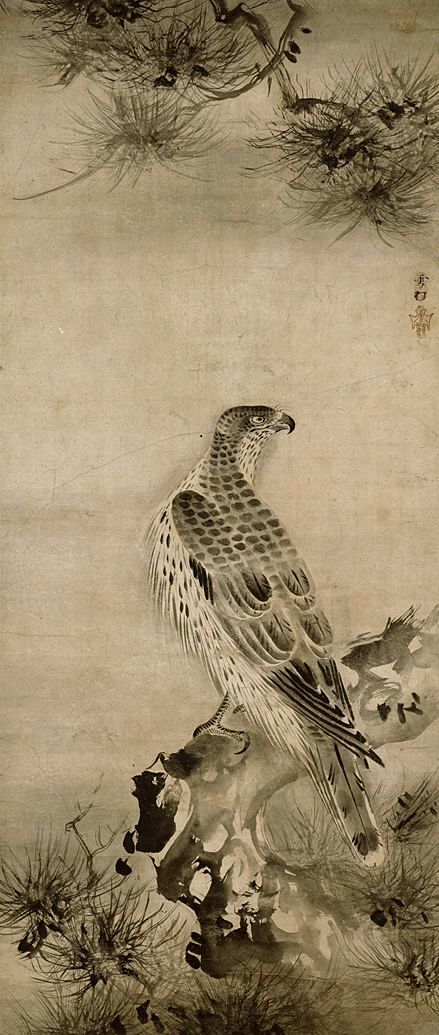 Hawk and pines Muromachi Period, 16th century, Japan Important Cultural Property Tokyo National Museum
