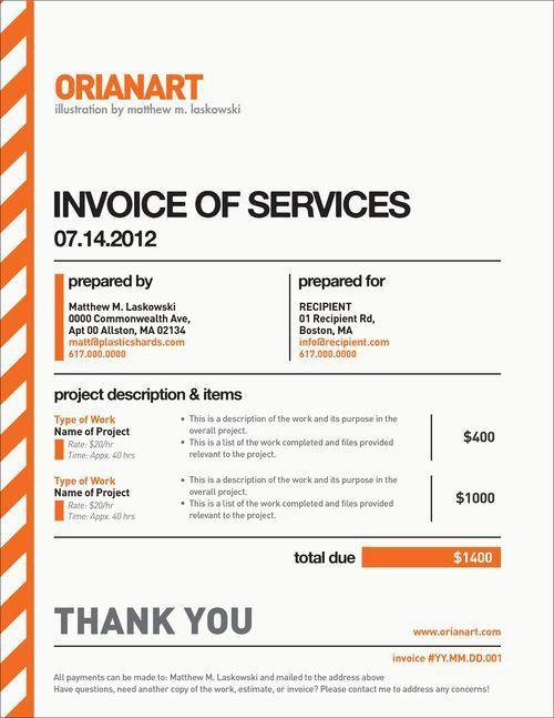 Desain Faktur Invoice Pilihan 2015 - Invoice of Service