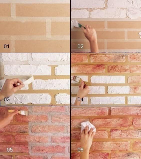 falsa parede de tijolos em…