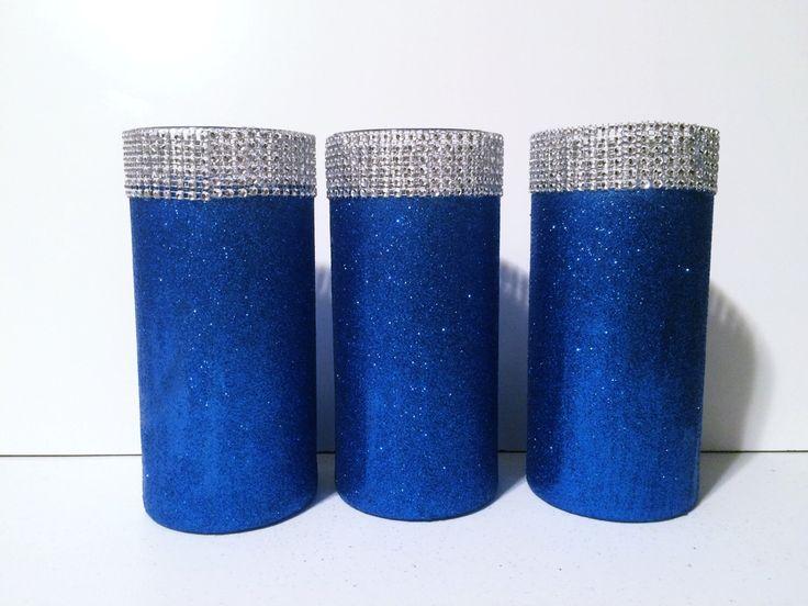 sale 3 ROYAL BLUE vases, wedding vases, centerpieces, wedding centerpiece set…