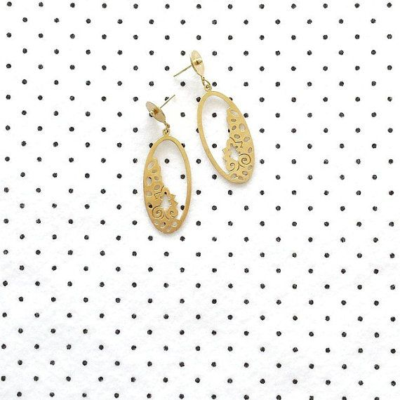 Greek Jewelry Gold plated earrings Statement by VictoriaKdesigns