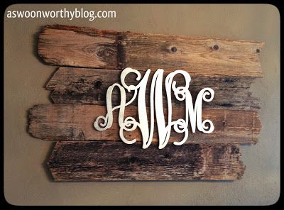Swoon! Metallic silver painted wood monogram on rustic wood back. Shiny, Pretty Things