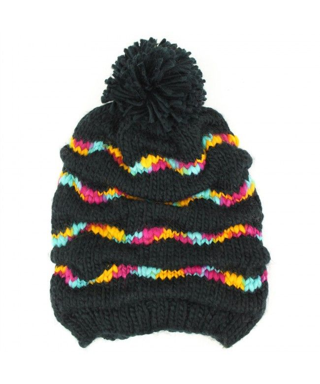 Hawkins Chunky knit gathered baggy beanie bobble hat with rainbow stripes - Black