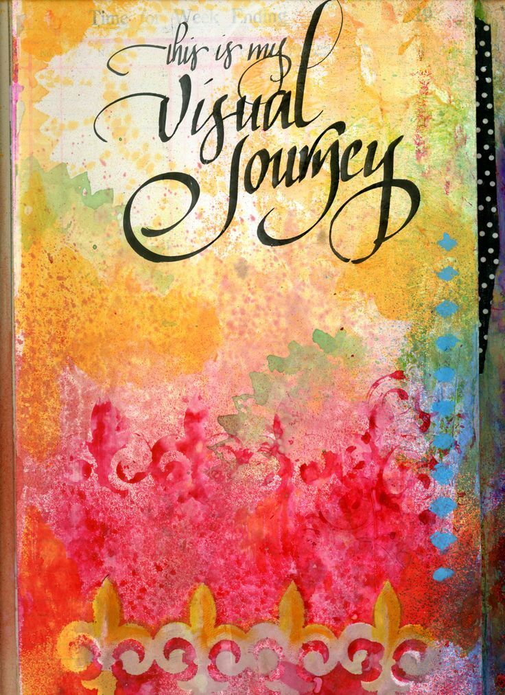 Vintage Time Book Journal - Cover Page - Stencils, spray inks and calligraphy.  BananaCurlGirl.com