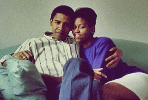 A young Michelle Robinson with boyfriend Barack Obama