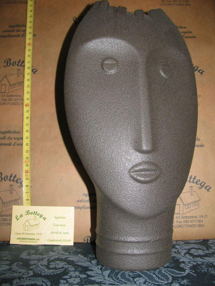 Vaso faccia scultura grès porcellanato Lineasettecod.VM157/C portafortuna regalo