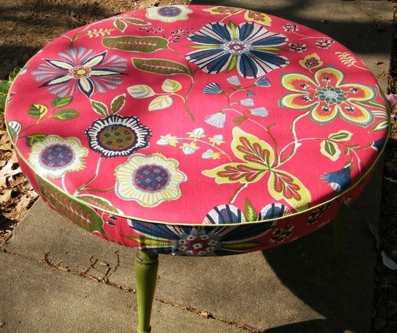 Ottoman Coffee Table Round Upcycled in Designer by GloryBDesign