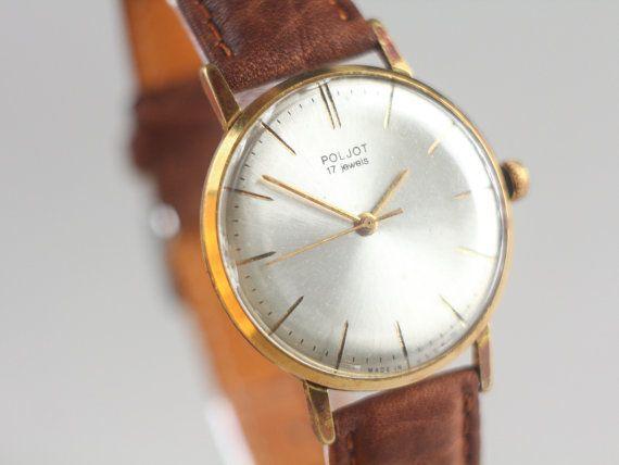 Vintage gents watch Poljot  gold plated watch  by somesoviet