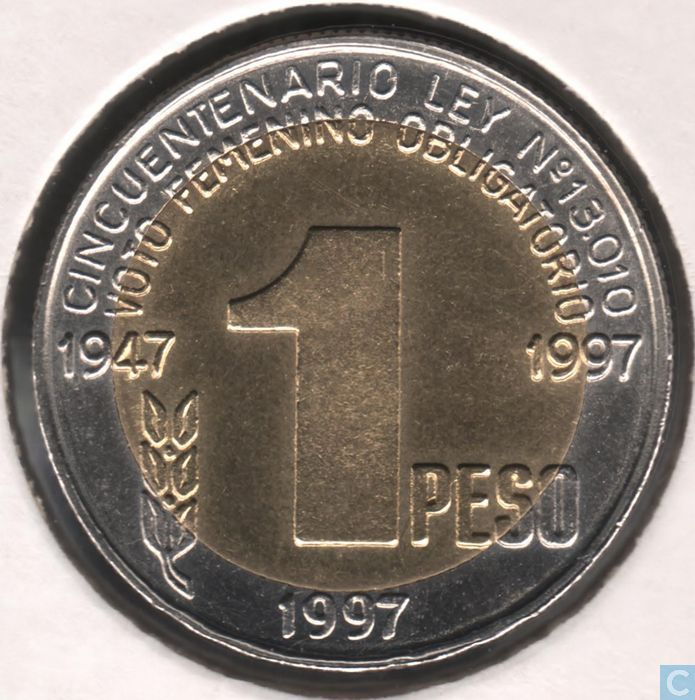 "Coins - Argentina - Argentina 1 peso 1997 ""50th Anniversary - Women's Suffrage"""
