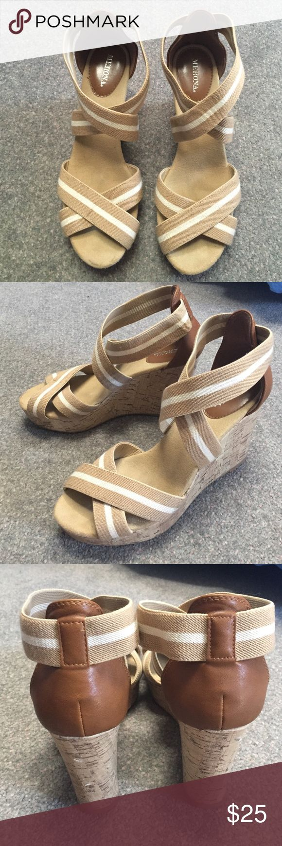Merona Wedges • very comfy! • worn only a few times • two small dings in the heel cork (as pictured) but not very noticeable Merona Shoes Wedges