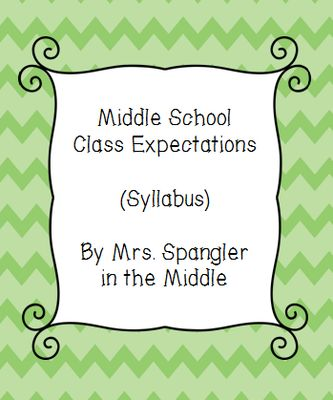 Middle School Class Expectations / Syllabus from Mrs. Spangler in the Middle on TeachersNotebook.com -  (3 pages)  - This is what I hand out to my Middle School students as my class expectations - aka syllabus.