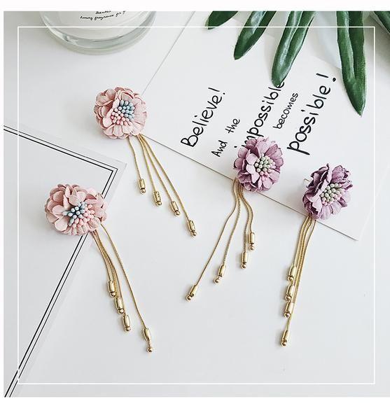All Match Temperament Flower Tassel Earrings