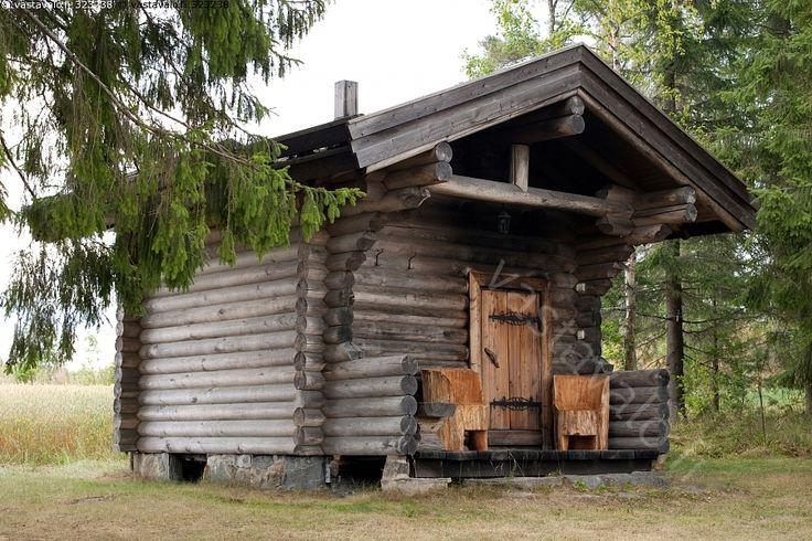 Savusauna - Sauna savusauna haapahirsi rakennus saunoa savu puusauna rakennus pihapiiri kesä