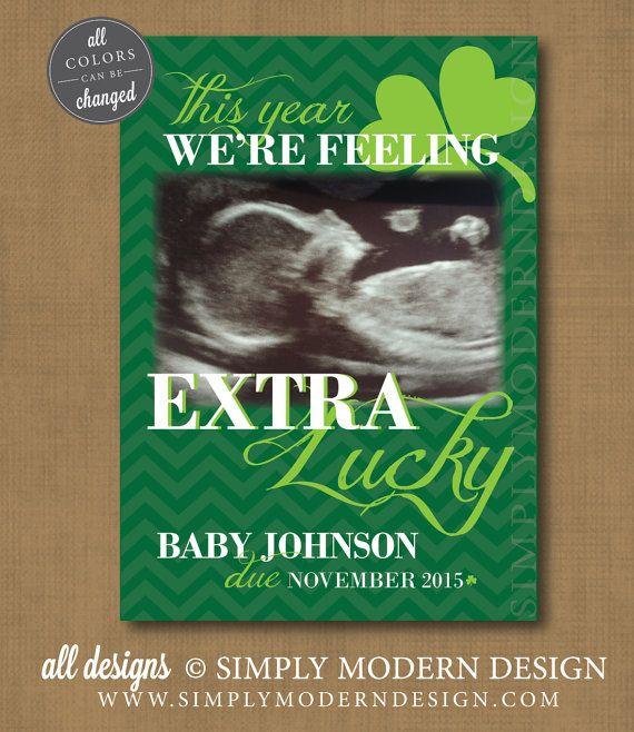 st pattys day pregnancy announcement, march pregnancy announcement, new baby, we got lucky, PRINTABLE  www.simplymoderndesign.com
