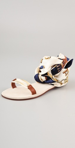 """Print Scarf"" ankle wrap sandals by Avec Moderation #summer #shoes #hamptons"