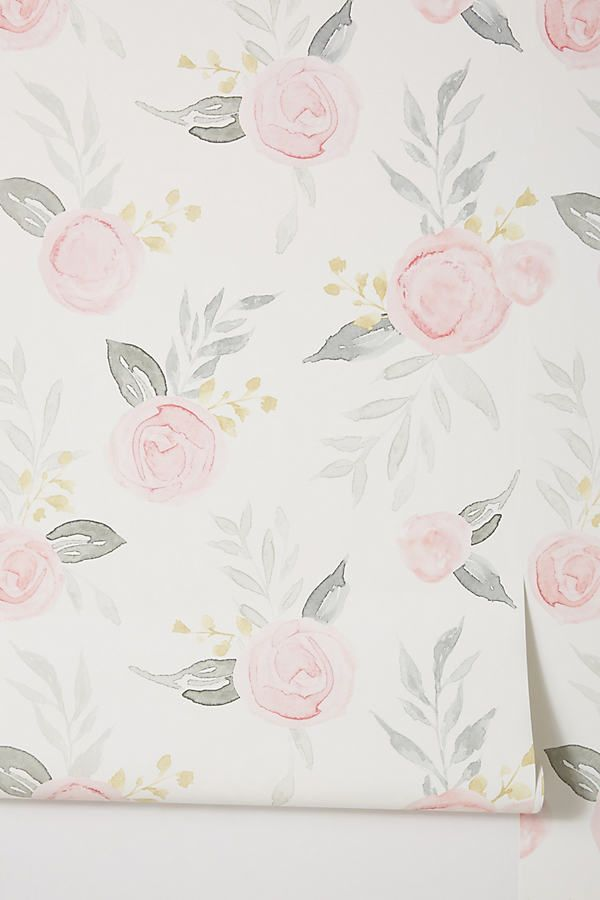 Magnolia Home Watercolor Roses Wallpaper by in Yellow, Wall Decor at Anthropologie