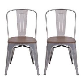 Carlisle High Back Metal Dining Chair - Set of 2 : Target in natural metal