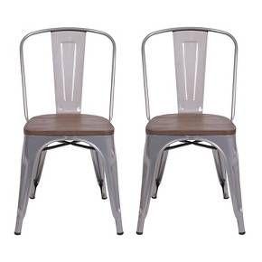Carlisle High Back Metal Dining Chair - Set of 2 : Target in natural metal