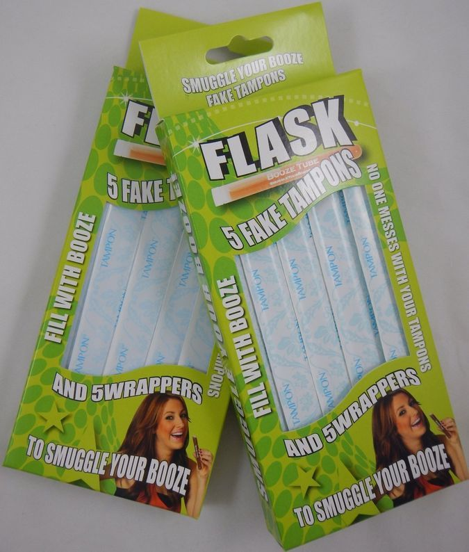 Sneak Alcohol with 5 Tampon Flasks and Sleeves - Bonus 2 Pack