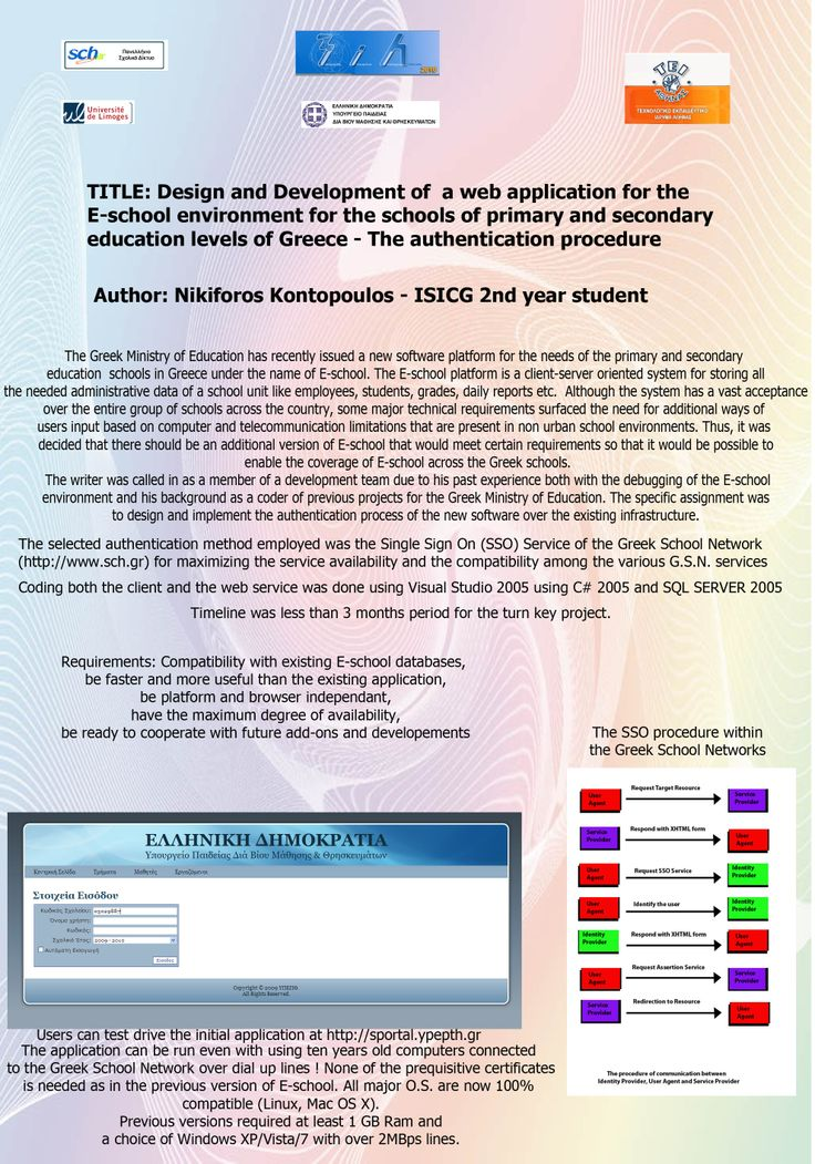 #poster #master ISICG TIM web application for the e-school environment for the primary & secondary education of Greece