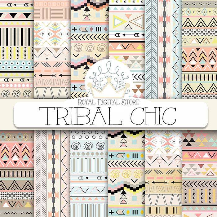 "Tribal digital paper: ""TRIBAL CHIC"" with tribal, aztec pattern, backgrounds in brown, yellow, mint, soft pink for scrapbooking, invitations #tribal #digitalpaper #scrapbookpaper #partysupplies #planner"