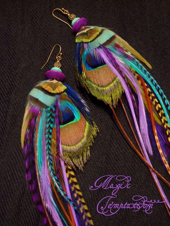 Купить Бирюзово-фиолетовые серьги из павлиньих перьев - фиолетовый, серьги, серьги с перьями