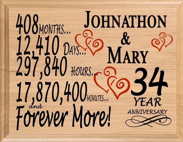 34 Year Anniversary Gift Sign Personalized 34th Wedding